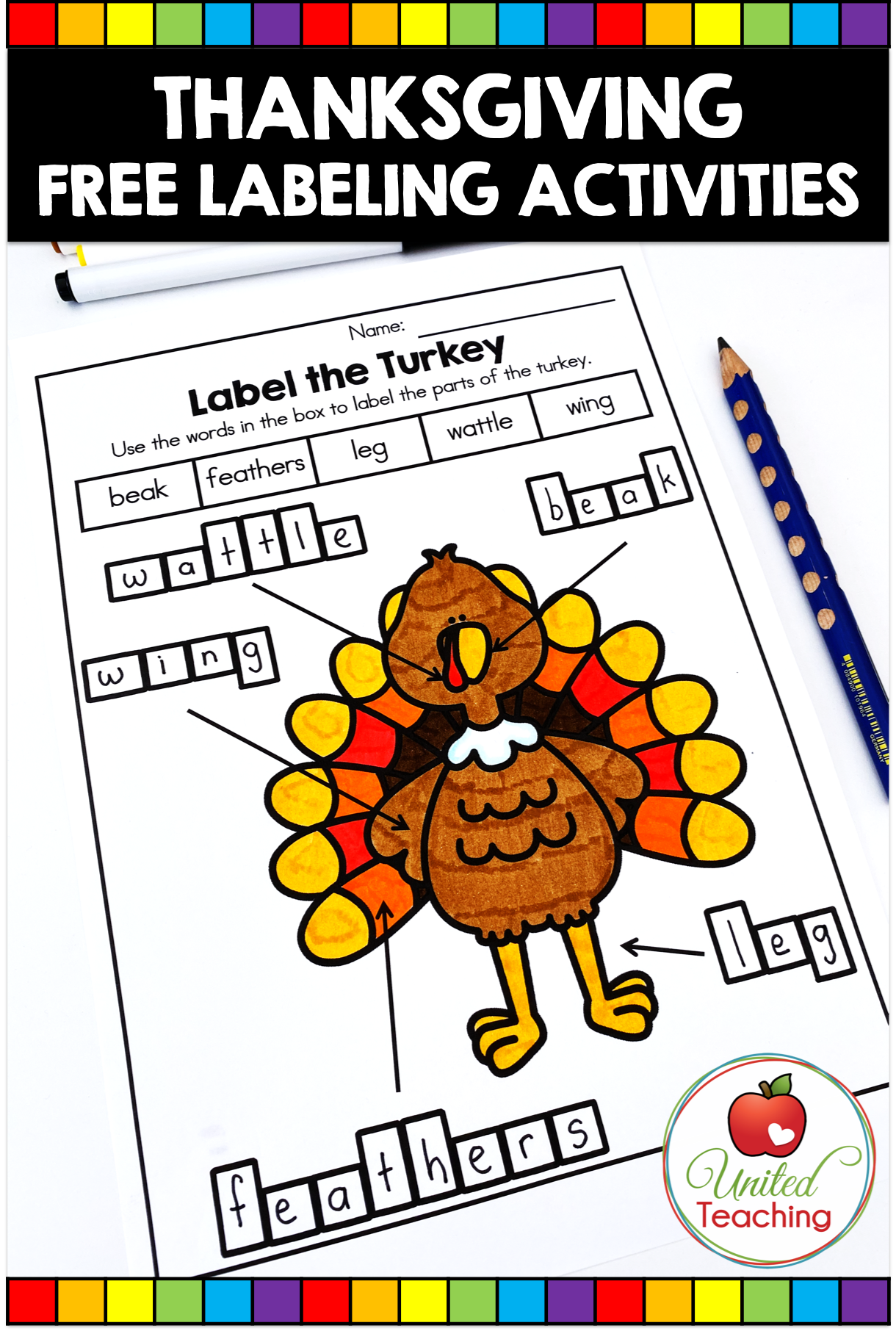 Free Thanksgiving Labeling Activities