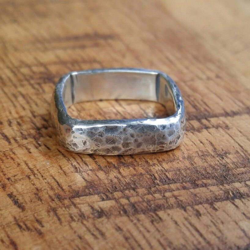 Rustic silver hammered square wedding ring. See it in my etsy shop: AmandaBrittin