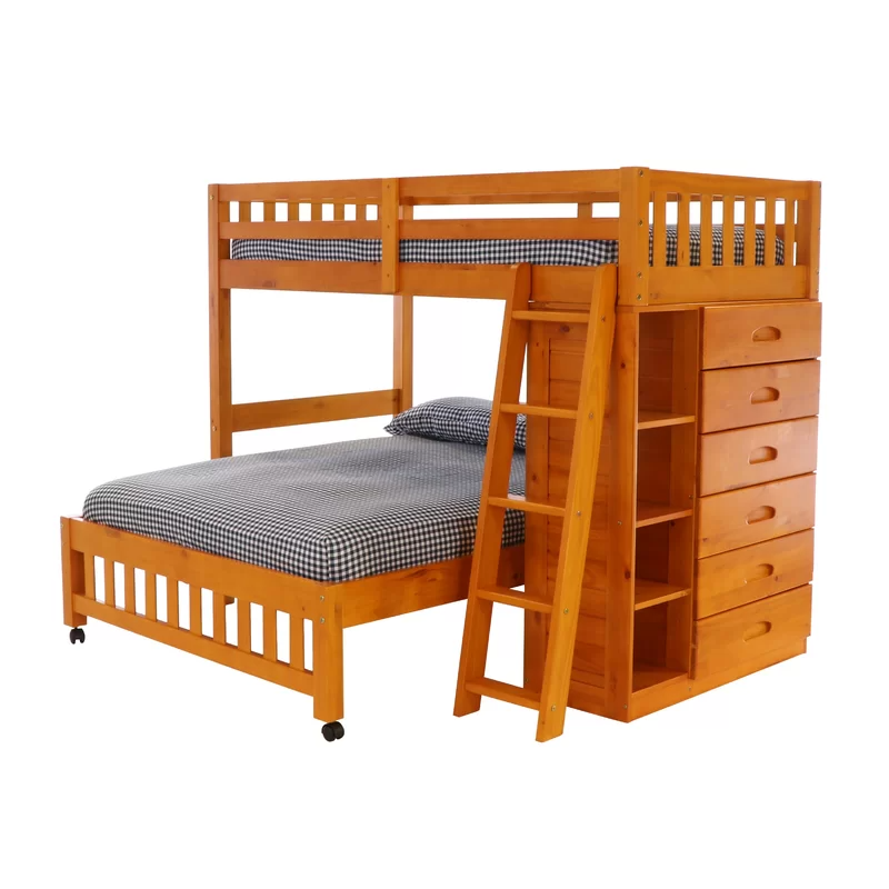 Booker Twin Over Full 6 Drawer Solid Wood L Shaped Bunk Beds With Bookcase By Greyleigh Bunk Beds Twin Over Full Bunk Bed Bunk Beds With Drawers Twin bunk beds with drawers