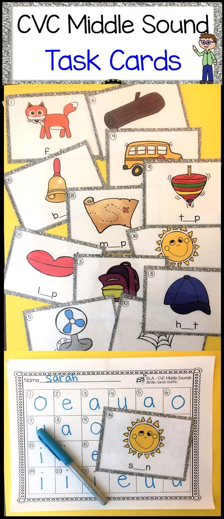Middle Vowel Sounds Cvc Words Task Cards Ela Station Or Center Activity For Letter Sounds Scoot Read And First Grade Phonics Task Cards Middle Sounds [ 1704 x 736 Pixel ]