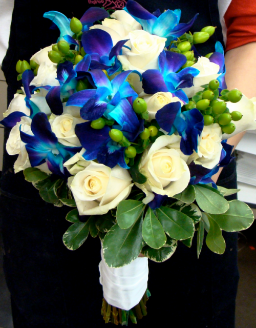 Blue flowers wedding bouquet with blue orchids and white for White and blue flower bouquet