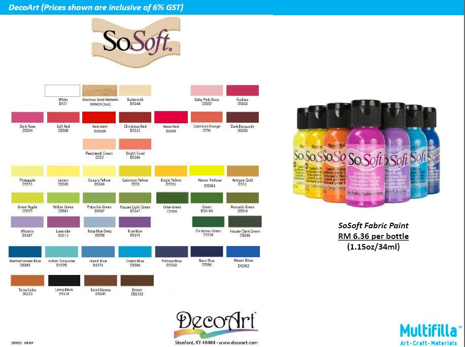 So Soft Fabric Paint For The Soft Feel On Fabric Unlike Using Acrylic Paints A Product From Decoart Usa Multifi Craft Materials Fabric Paint Arts And Crafts
