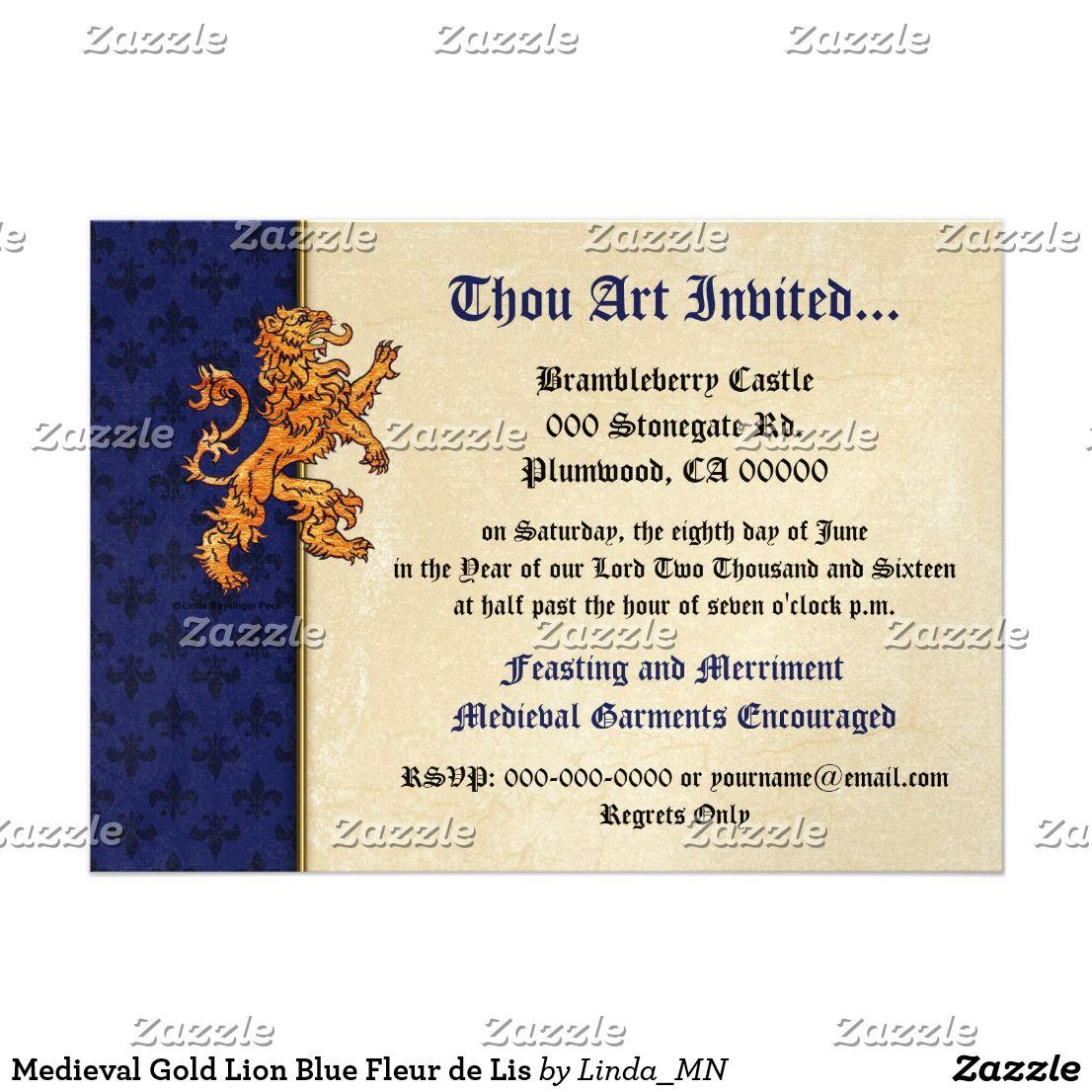 Medieval Gold Lion Blue Fleur De Lis Card Designers Guild