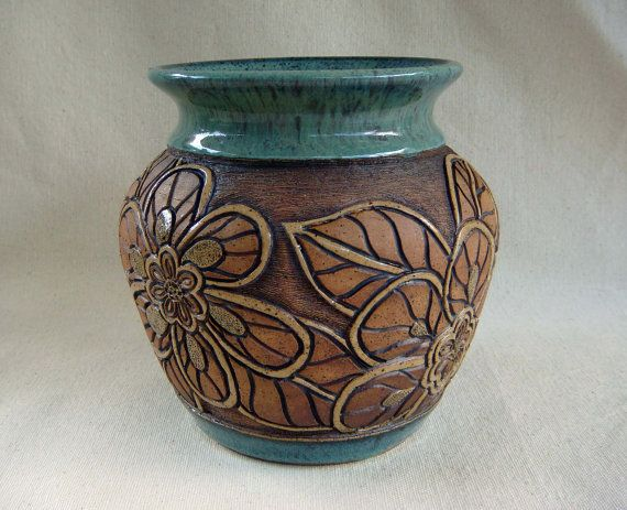 Pottery hand carved vase with flower design 1345 by for Pottery vase ideas