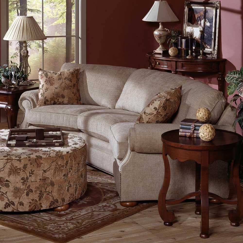 Midland Texas Curved Sofa Living Room Flexsteel Furniture Oak Sofa