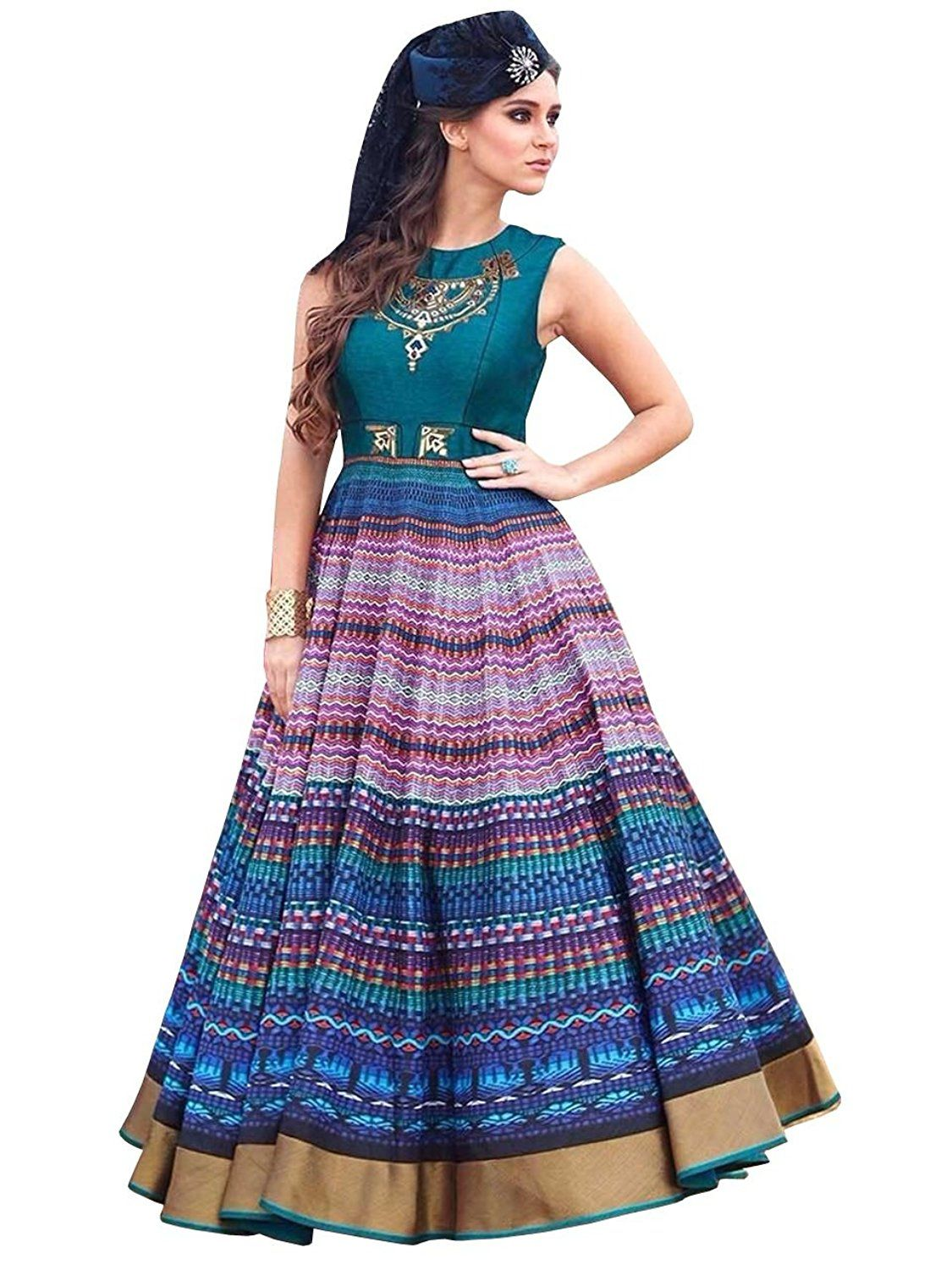 89e10c632ab9 Kapadewala New Latest Multicolor Printed Embroidered Banglore Silk Semi  Stitched Free Size XXL Party Wear Gown for Women