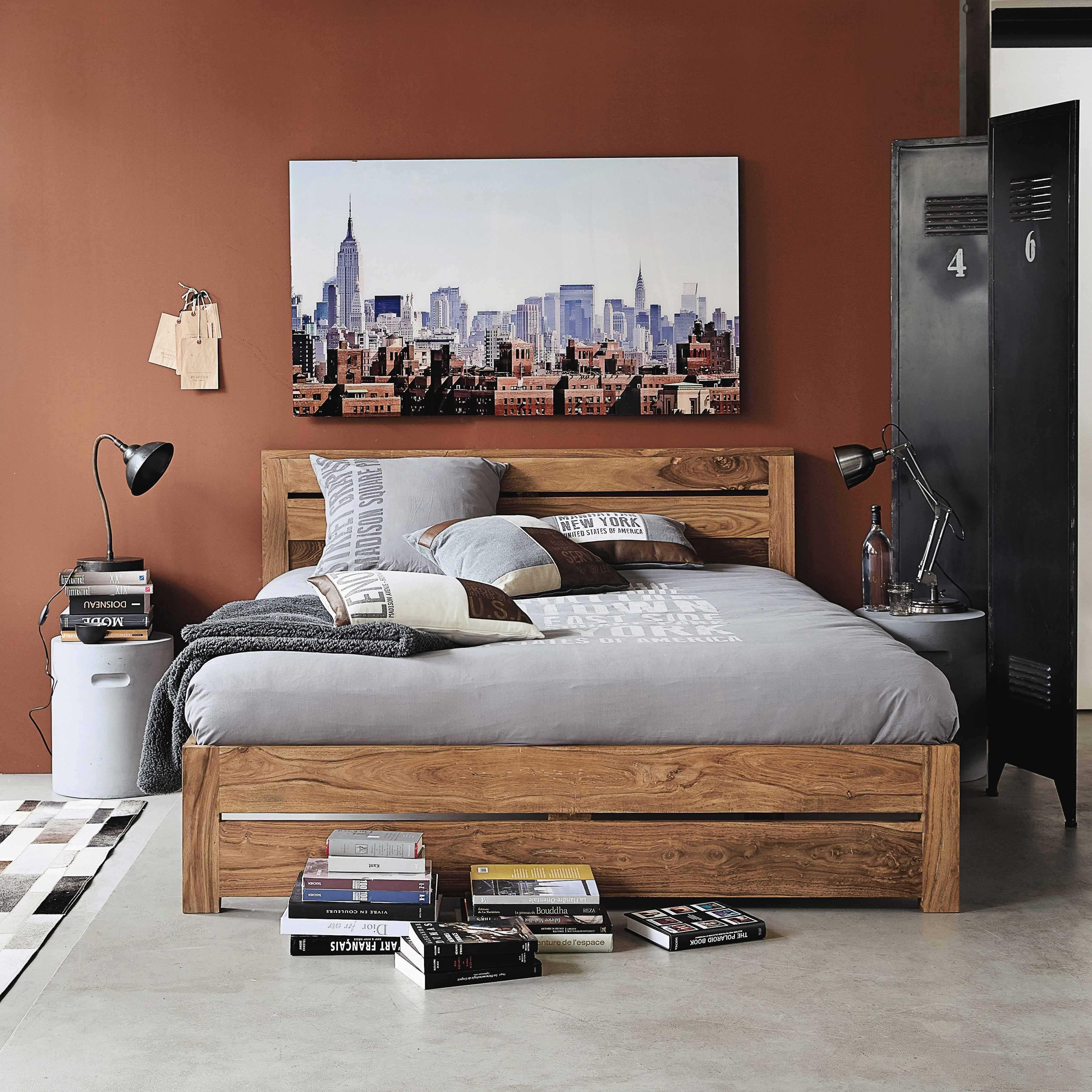 Maison Du Monde Opinioni letto 140 x 190 in massello di legno di sheesham   bed