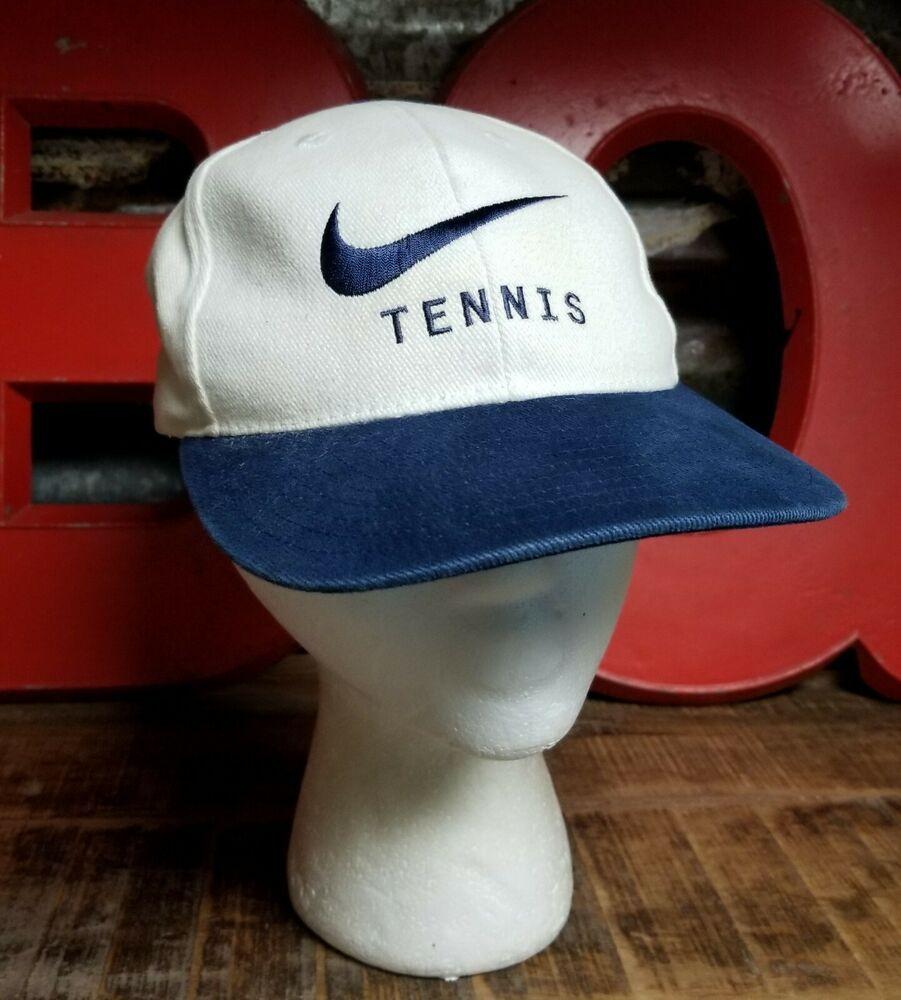 Vintage Nike Tennis Snapback Hat Cap White Embroidered Blue Swoosh Lettering Nike Baseballcap