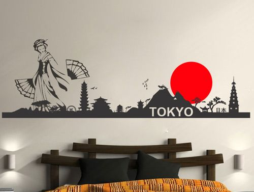 High Quality Tokyo Skyline Wall Decal Sticker For Home Decoration
