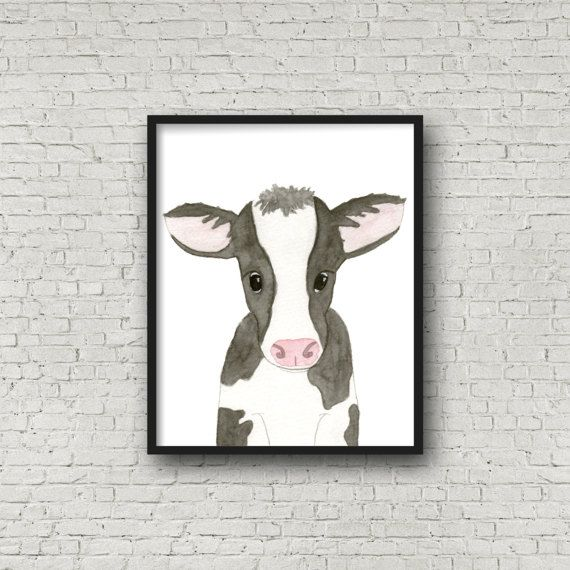 Cow Watercolor Painting Baby Cow Fine Art Print By EmilieTaylorLLC Wall  Art, Home Decor,