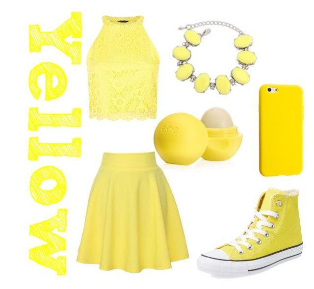 """""""Yellow"""" by wwe-is-bae ❤ liked on Polyvore featuring Eos, QNIGIRLS, Ruby Rocks and Converse"""