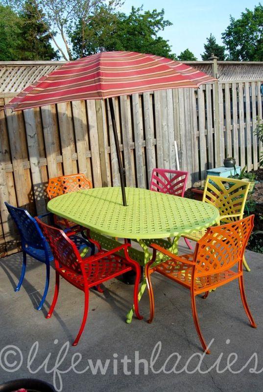 Colorful Wrought Iron Patio Set Using Multi Color Rustoleum Spray