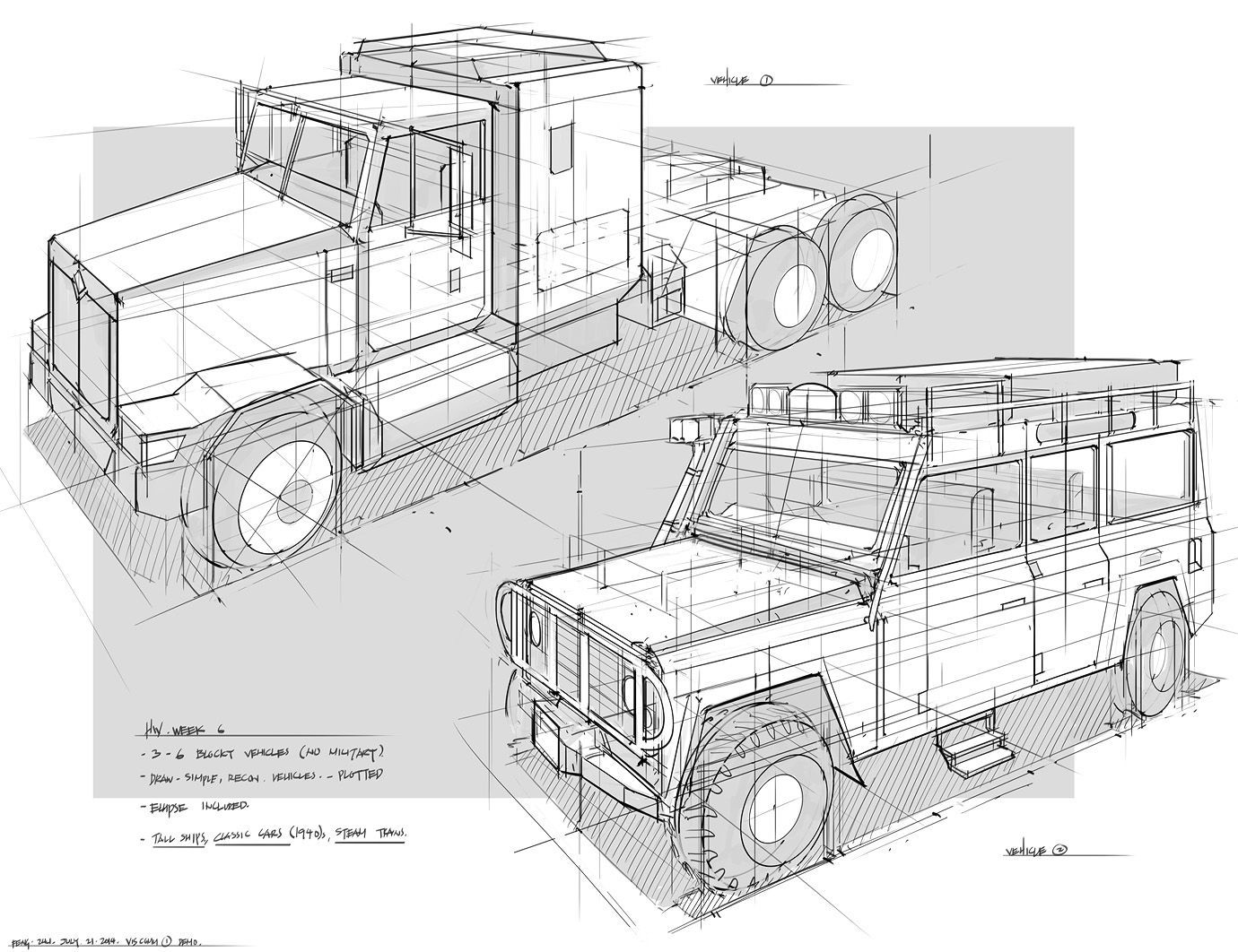 How to draw a truck or a heavy car - with perspective - Drawing ...
