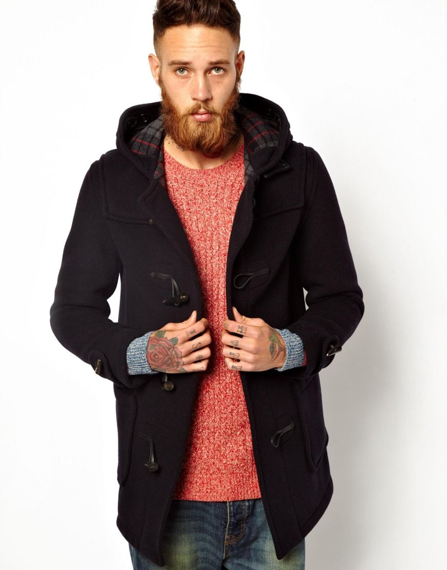 Men's Black Gloverall Duffle Coat in Checkback Wool | Coats ...