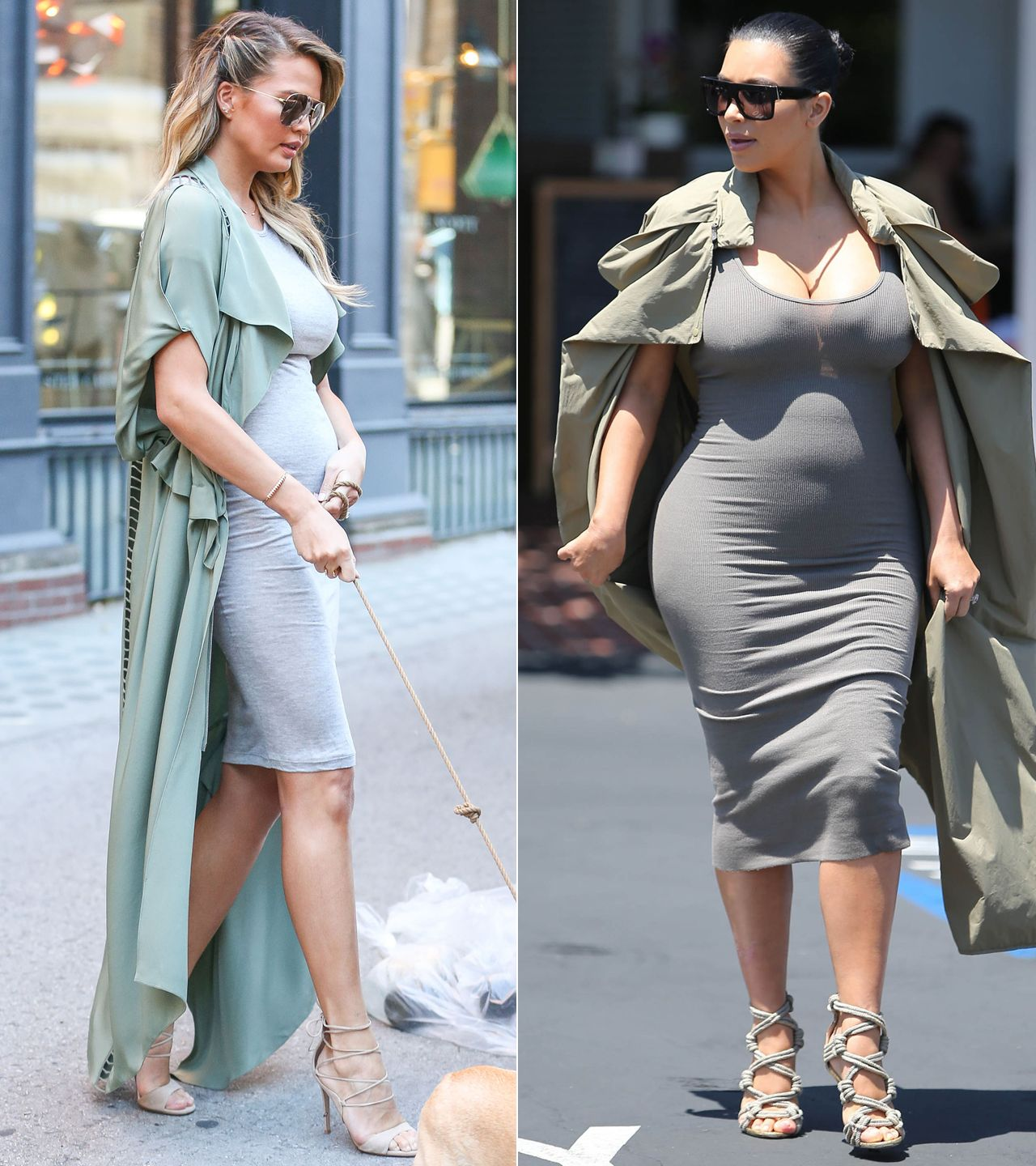 Every Time Chrissy Teigen Channeled Kim Kardashian's Maternity Style - Gray-and-Army Green Color Combo - from InStyle.com