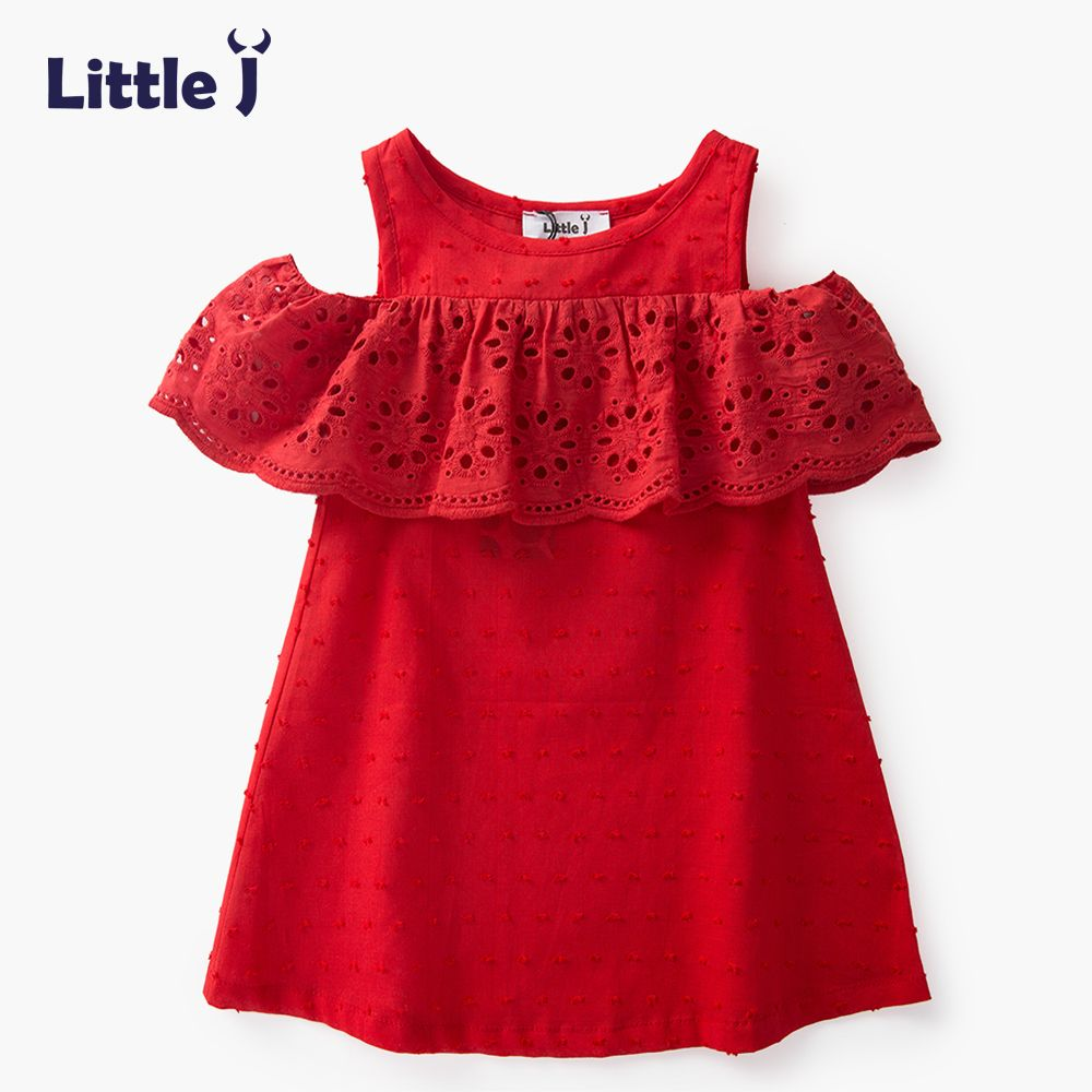 fdb7778ae Little J 100% Cotton Girls Red Off Shoulder Dress Toddler Hollow Lace  Dresses Cute Casual Children Summer Dress Kids Clothes //Price: $9.95 //  #fashionkids