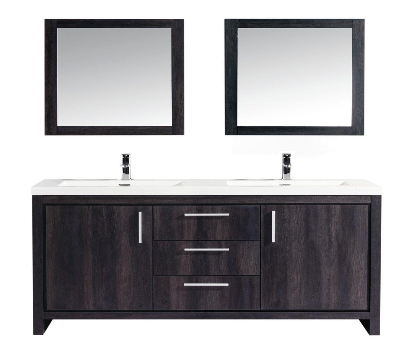 Miami 60 Double Sink Modern Bathroom Vanity Set With Mirror