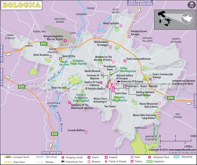 Bologna Map Map of Bologna City Italy Favorite Places Spaces