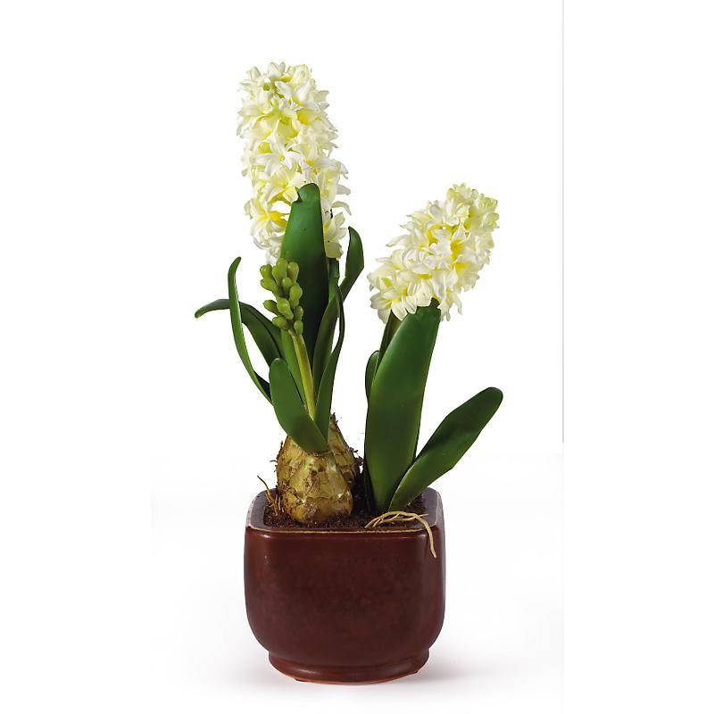 Lifelike hyacinth silk flower arrangement with bulbs and air roots lifelike hyacinth silk flower arrangement with bulbs and air roots in glazed pot from excellentsilkflowers mightylinksfo