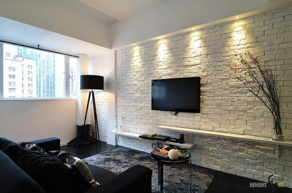 An Amazing White Brick Wall Idea For Elegant Black And