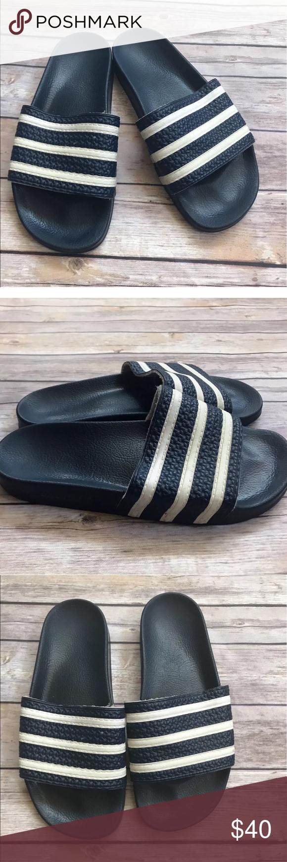 91d15534c Vintage ADIDAS Slides sandals adilette Italy blue HI