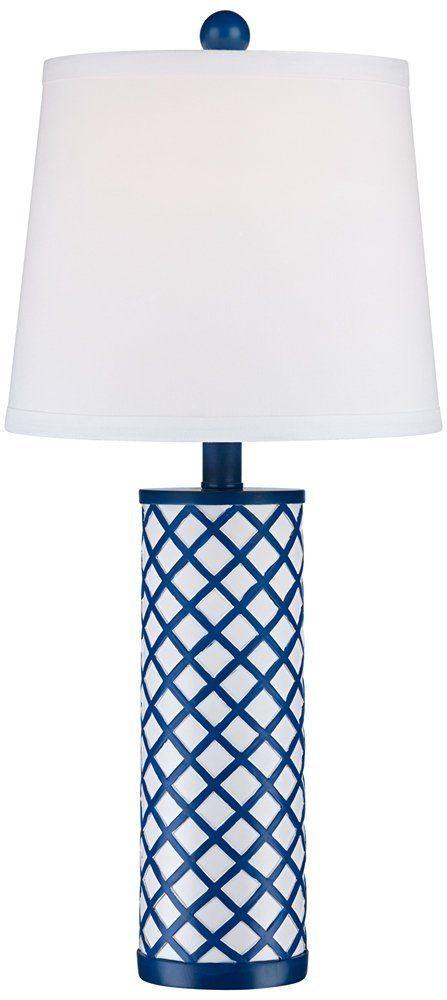 Gisele Blue Lattice Column Table Lamp - Beachfront Decor