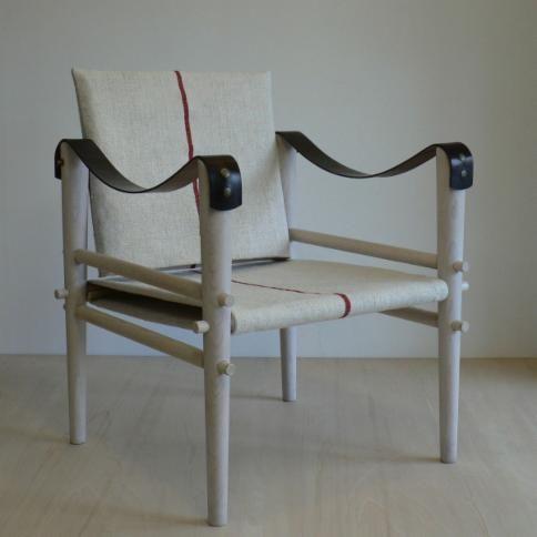 Safari chair, leather, linen, brown,, beige Temps Libre ...