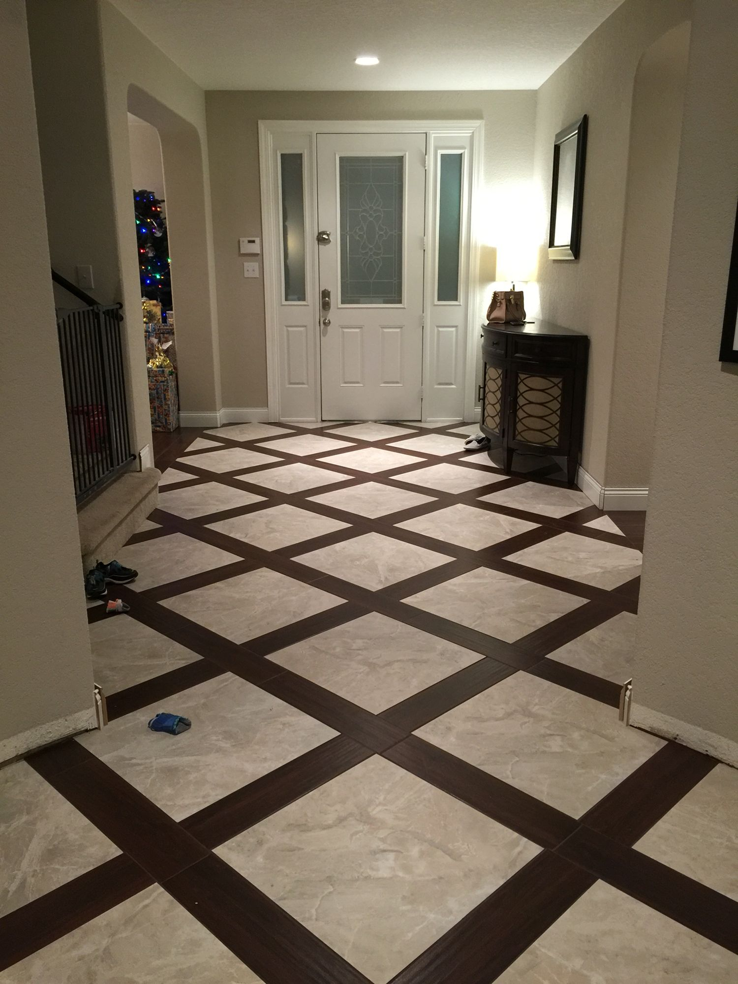 Basketweave tile design. Porcelain wood look tile Wood