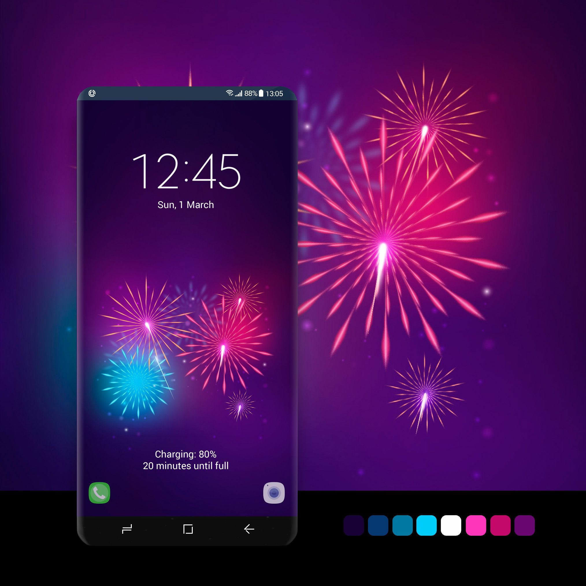 Purple Fire Work Wallpaper wallpaper, android, phone,