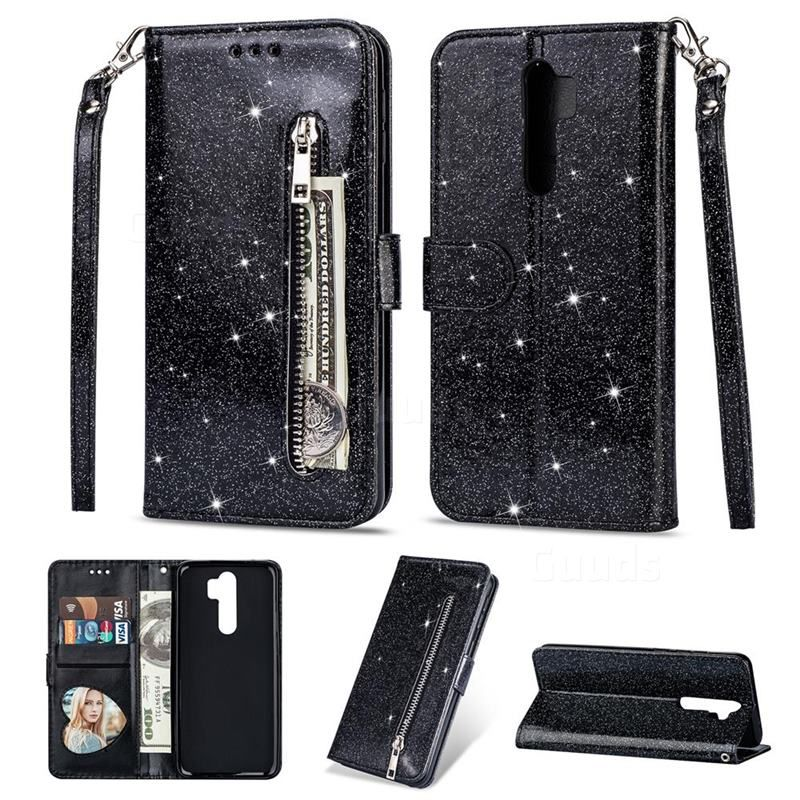 Glitter Shine Leather Zipper Wallet Phone Case For Mi Xiaomi Redmi Note 8 Pro Black Xiaomi Redmi Note 8 Pro Cases Guuds Wallet Phone Case Leather Zipper Phone Cases
