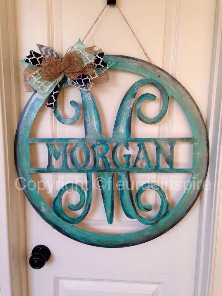Morgan With M Monogram Door Hanger By Fleur De Inspire Monogram Door Hanger Front Door Monogram Monogram Door Hanger Wooden