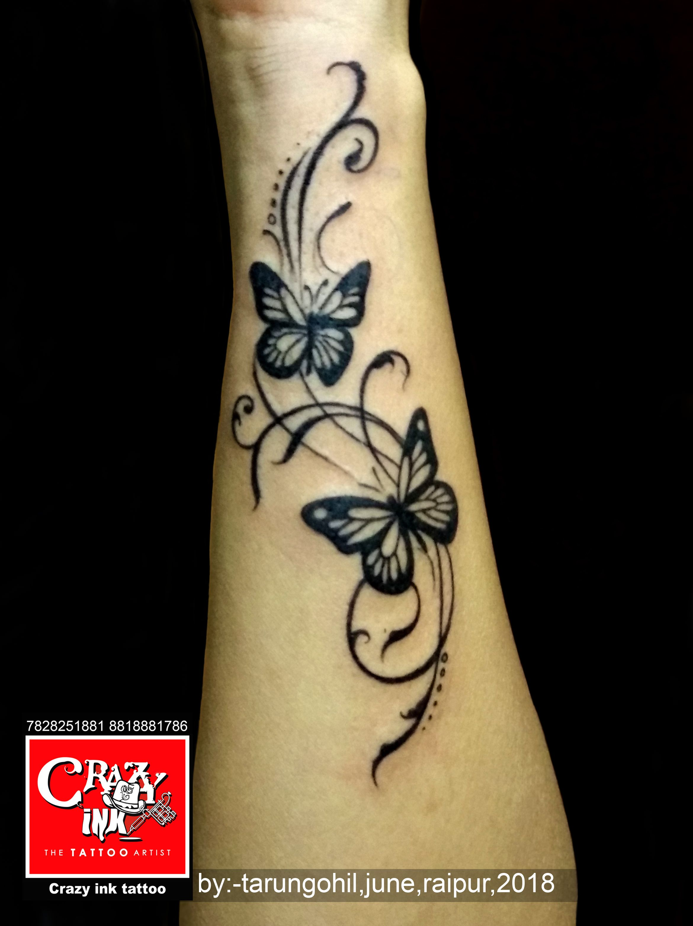 butterflytattoo done by tarun gohil for girl wrist tattoo