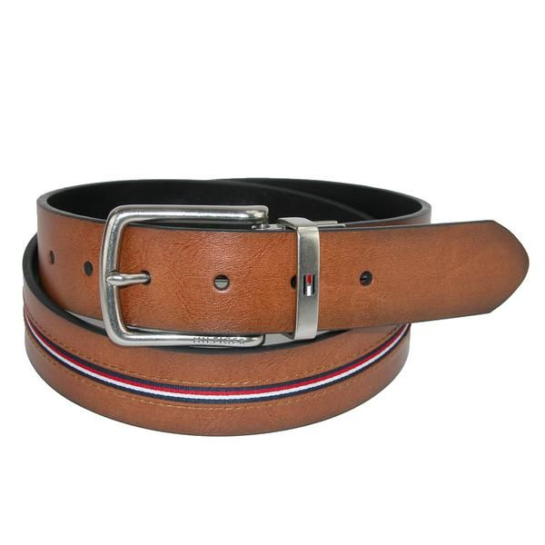 Tommy Hilfiger Men's Reversible Jean Belt with Ribbon Inlay