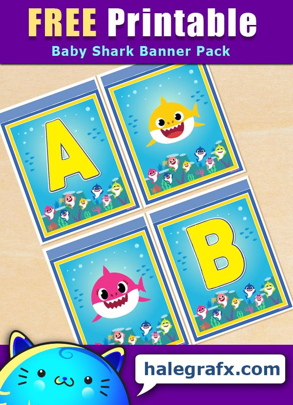 FREE Printable Baby Shark Alphabet Banner Pack in 2020