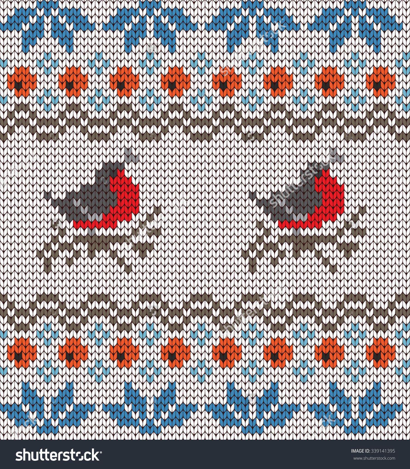 knitted seamless pattern bullfinches   fair isle   Pinterest