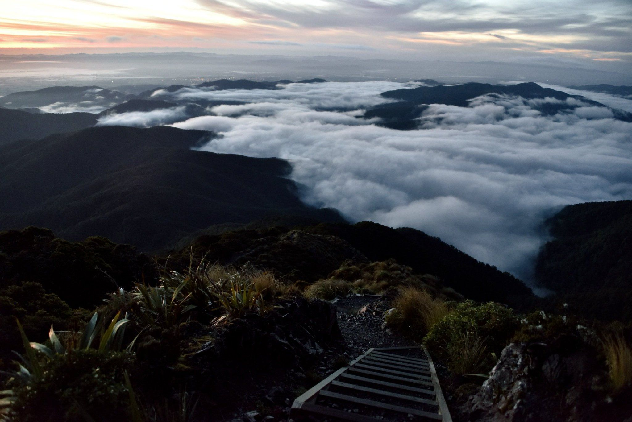 """Seán Gillespie on Twitter: """"One of the many reasons I love hiking: siting on a stairway above the clouds at sunrise. -- Mt Holdsworth, Tararua Ranges, New Zealand https://t.co/gfBVQNGcaU"""" #hiking"""