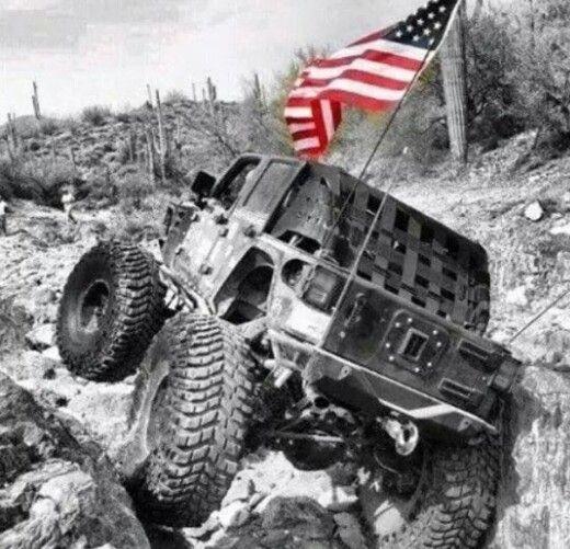 American Flag Flyin Off Roadin Jeep Badass Jeep Offroad Jeep Ocean City Jeep Week