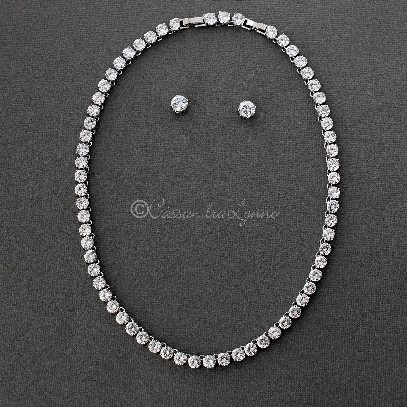 Corona De Diamante Aretes En Plata 7mm Cubic Zirconia Cristal