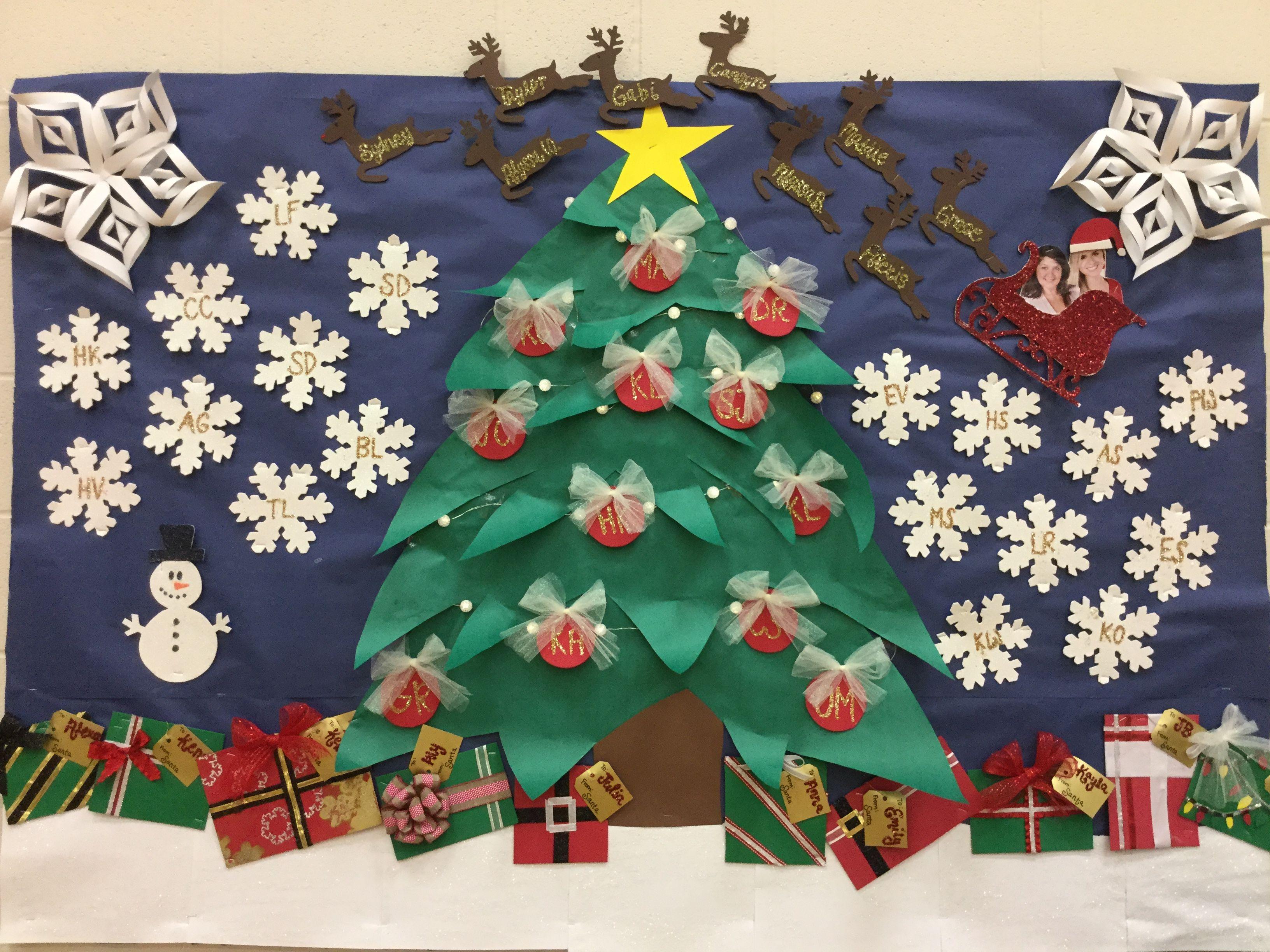 Christmas Board Design.Bulletin Board Idea For Christmas Each Item Has Initials