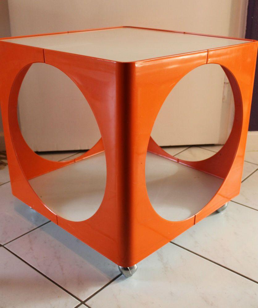 70er jahre kubus rolltisch beistelltisch couchtisch pop art