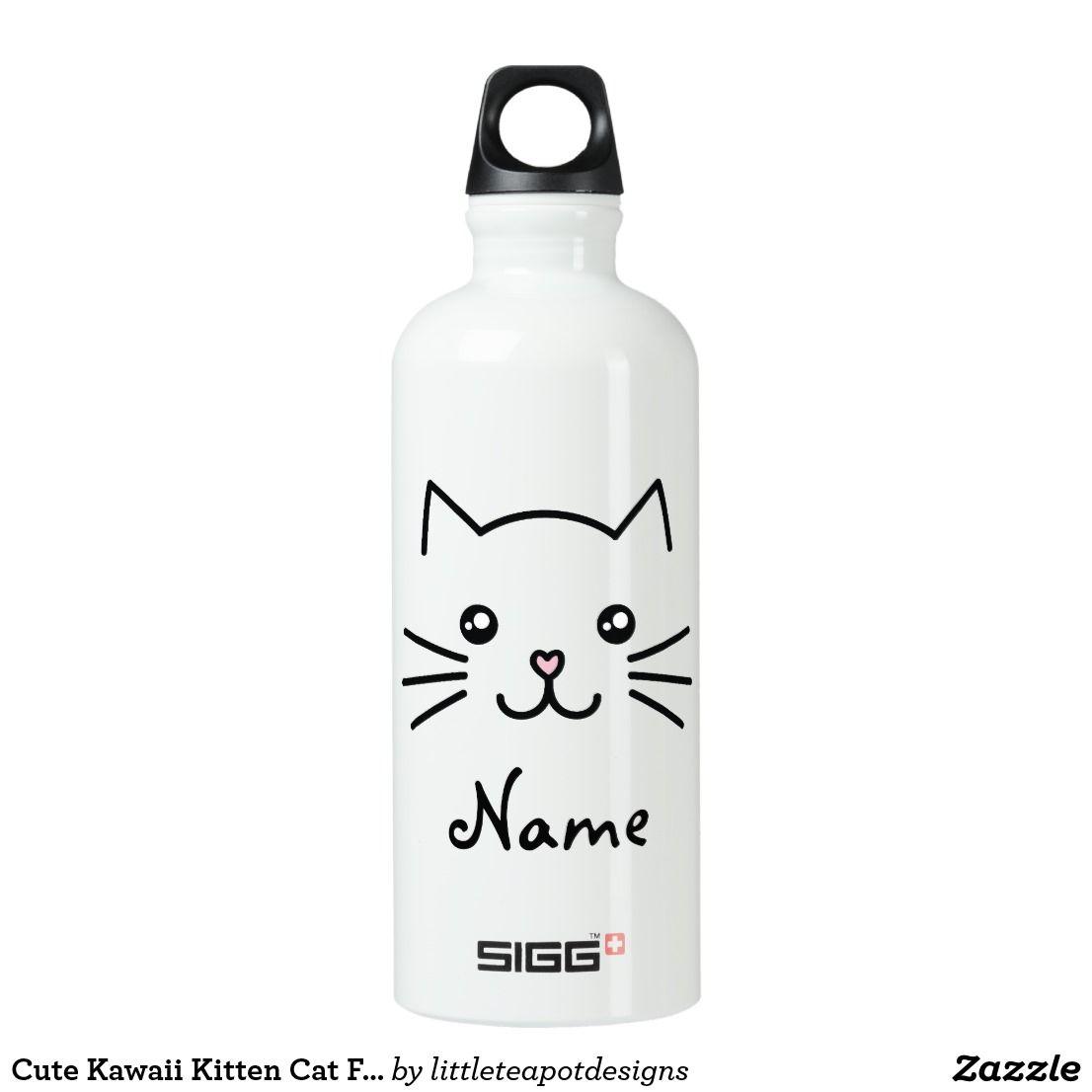 Cute Kawaii Kitten Cat Face With Pink Heart Nose Aluminum Water Bottle Zazzle Com In 2020 Aluminum Water Bottles Water Bottle Bottle