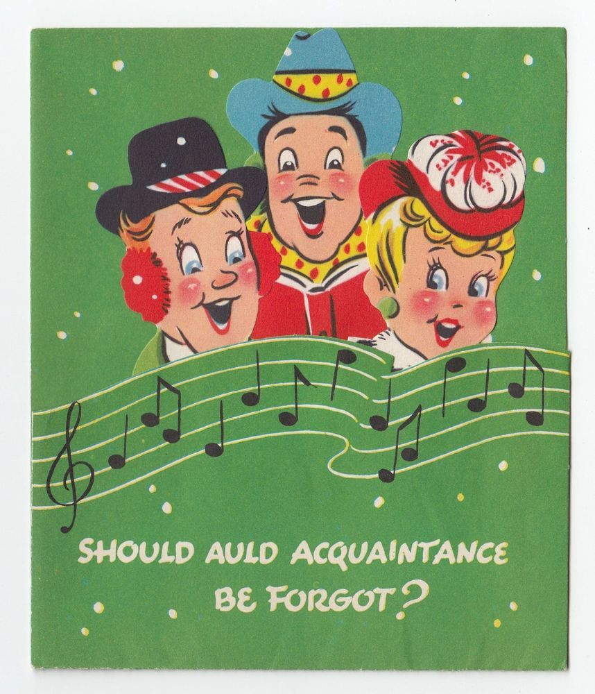 Vintage greeting card christmas die cut carolers people 1950s vintage greeting card christmas die cut carolers people 1950s humor l08 kristyandbryce Image collections