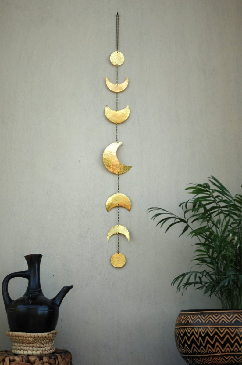 Moon Phases Wall Decor Moon Wall Hanging Brass Moon Wall Art Etsy Moon Wall Art Etsy Wall Art Wall Decor