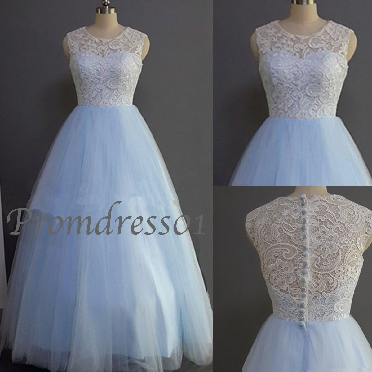 2015 elegant ice blue floor-length lace tulle prom dress for teens ...