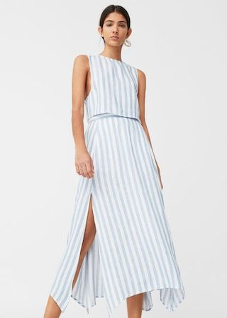 79733add3 Falda rayas lino - Mujer en 2019 | Looks | Vestidos, Faldas y Manga