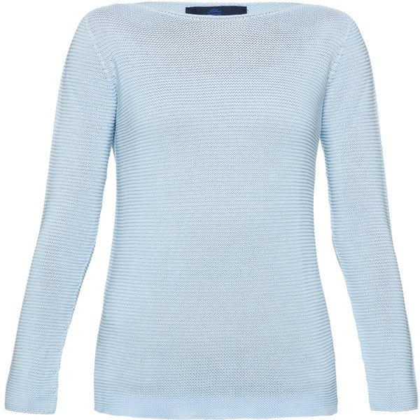 Les Copains Pale Blue Long Cotton Knit Sweater (£190) ❤ liked on ...