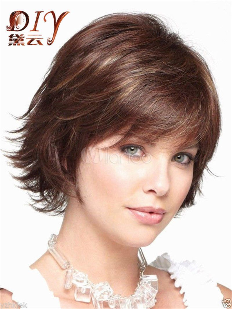 Brown mix short womens curly natural hair cosplay bang chraming wigs