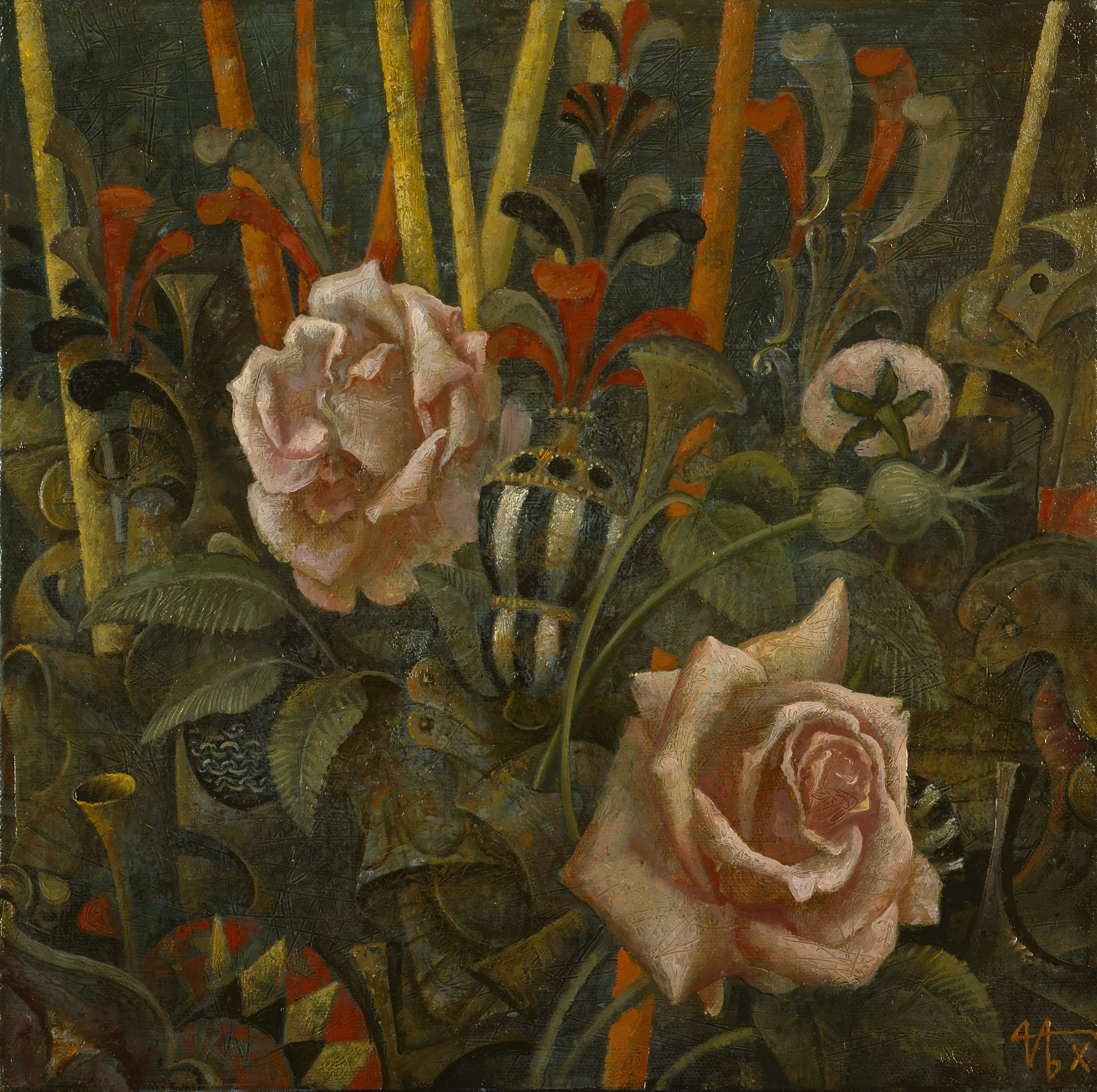 Roses de San Romano huile /toile 30 x 30 cm