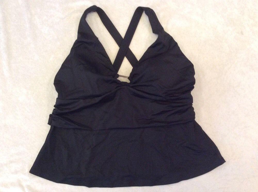 Lands End 16W Tankini Swimsuit Top Black Banded Keyhole Womens Swim #LandsEnd #TankiniTop