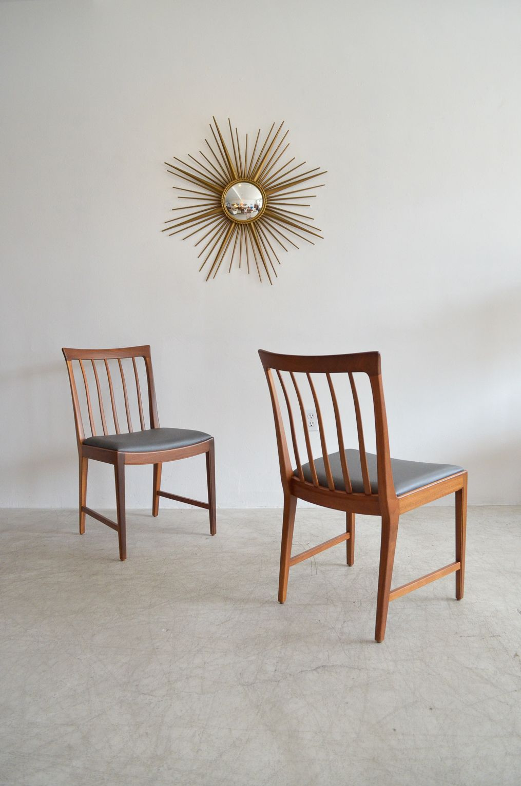 Pair of Walnut Slat Back Chairs by MM Moreddi Sweden The